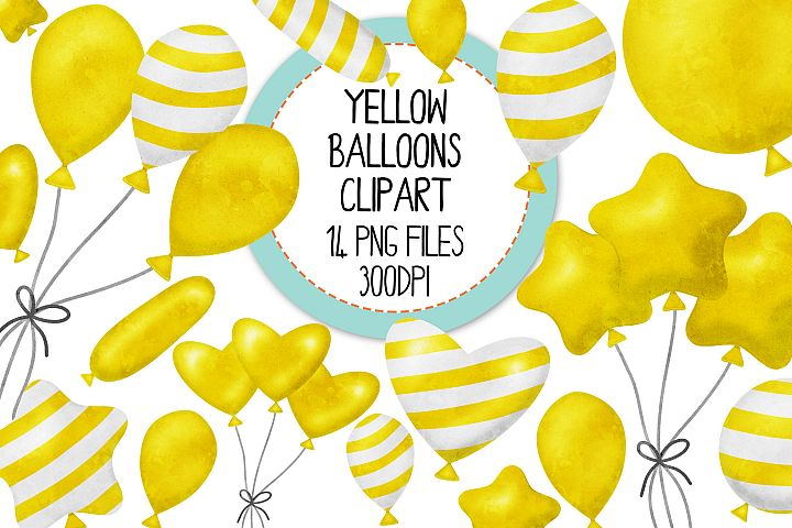 Yellow Watercolor Balloon Clipart Set
