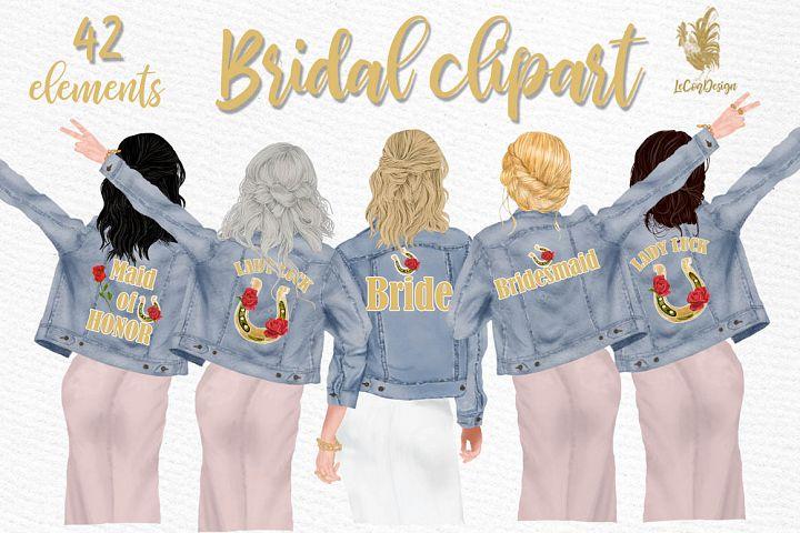 Wedding clipart,Bridesmaid clipart, Bride in Jackets clipart