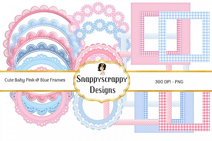 New Baby Pink & Blue Frame Clipart