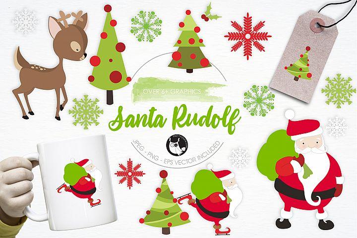 Santa Rudolf graphics and illustrations