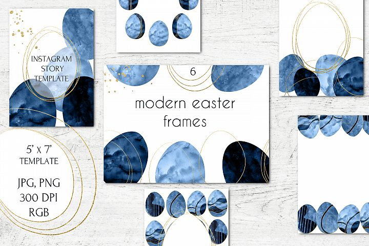 Blue Gold Modern Easter Instagram Story frames and borders