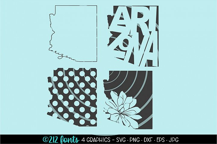 4 - Arizona State Map Graphic Cut File DXF PNG JPG SVG EPS