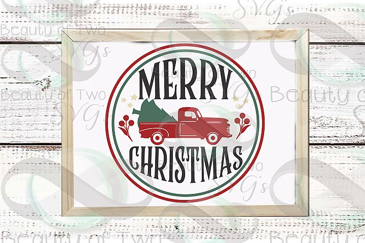 Merry Christmas Red Vintage Truck svg, Christmas sign svg