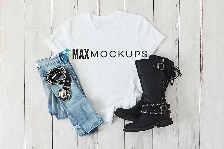 White shirt mockup women, jeans biker leather styled flatlay