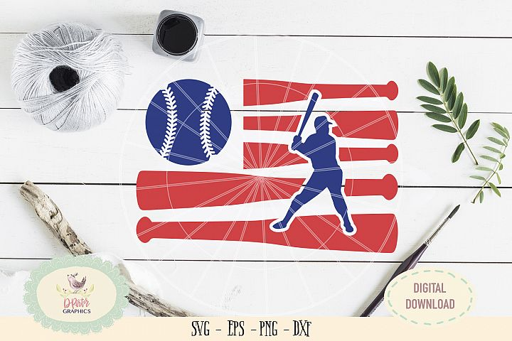Baseball American flag of July SVG cut file, 4th of july