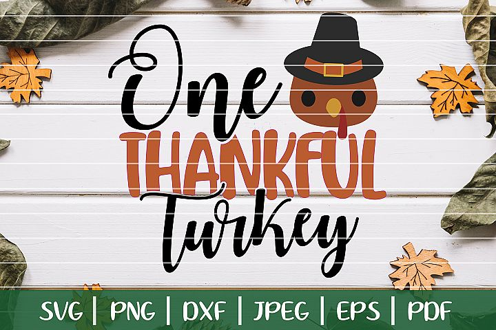 One Thankful Turkey SVG, Thanksgiving Turkey Cut File