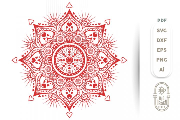 Mandala SVG - Mandala Hearts SVG , Mandala DXF EPS PNG SVG