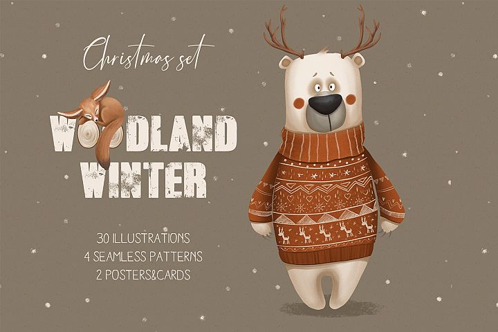Woodland winter. Christmas set