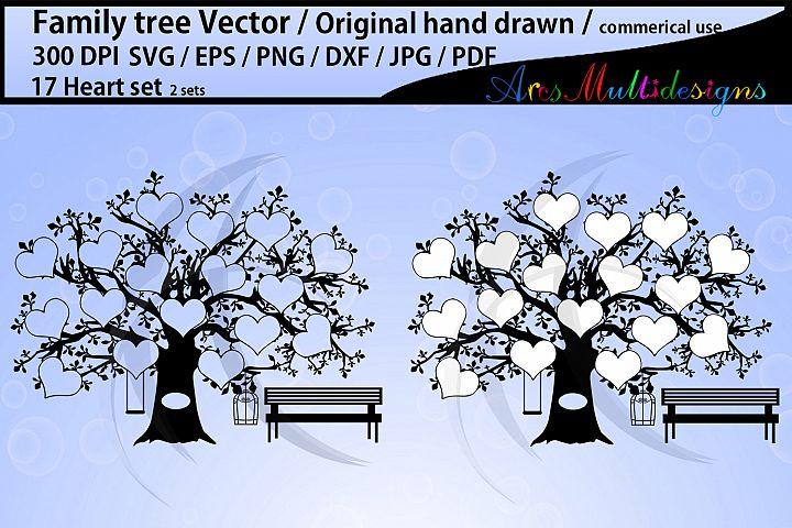 17 Hearts Family Tree SVG