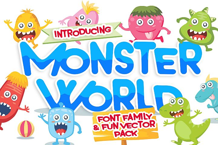 Monster World Font Family & Fun Vector Pack