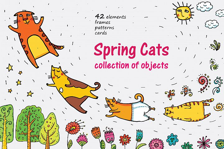 Spring Cats - 42 objects