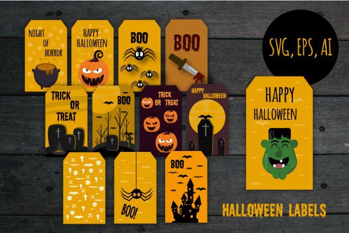 Halloween labels, Halloween bundle, Halloween svg, Zombie