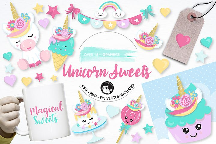 Unicorn sweets graphics and illustrations