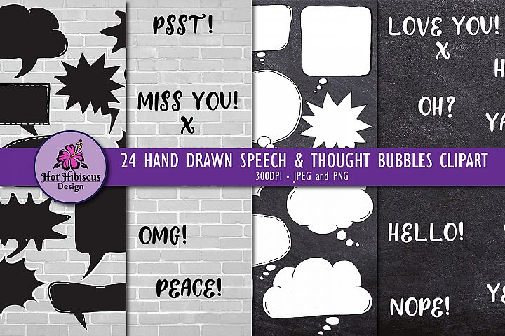 24 Hand Drawn Black and White Speech Bubbles Doodles Clipart