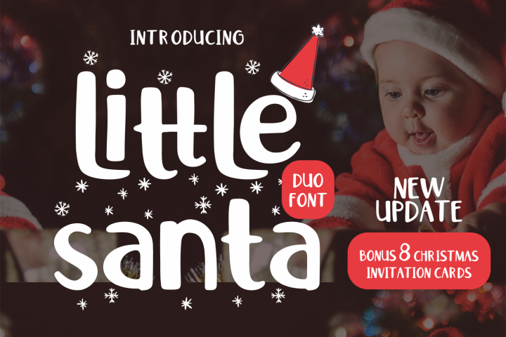 Little Santa Font | merry christmas font | 8 christmas cards