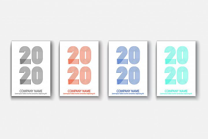 Cover Annual Report numbers 2020 in thin lines illustrations