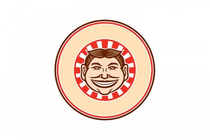 Grinning Funny Face Mascot Circle Retro