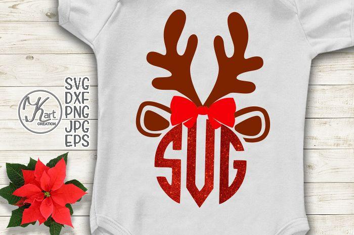 Antlers Reindeer Christmas monogram girl kids design svg dxf