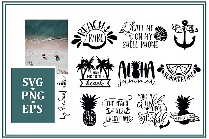 Beach Bundle SVG. Beach collection files. EPS, PNG, SVG