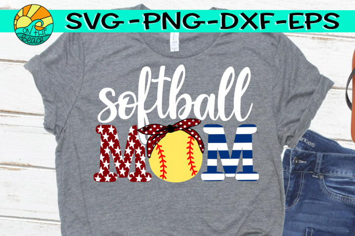 Softball Mom - Red White Blue - SVG - DXF - EPS - PNG