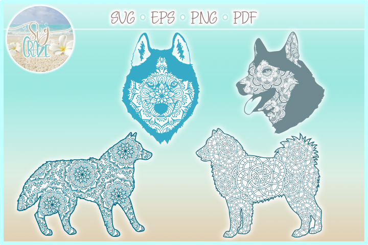 Siberian Husky Dog Mandala Zentangle Svg Dxf Eps Png Pdf