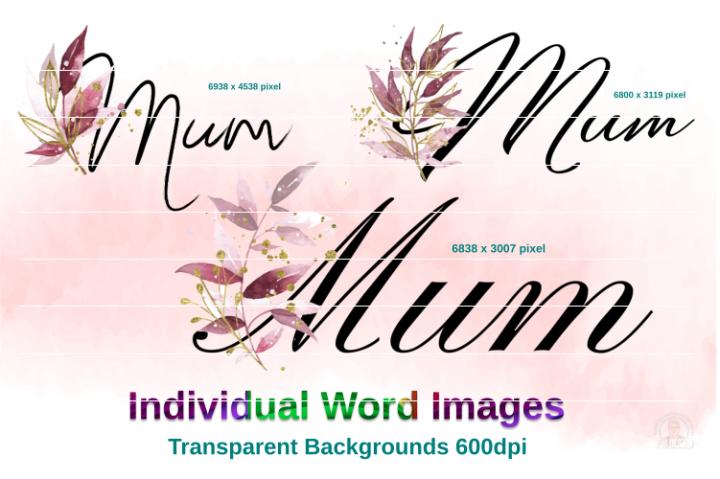 Mum Floral Script Text Images