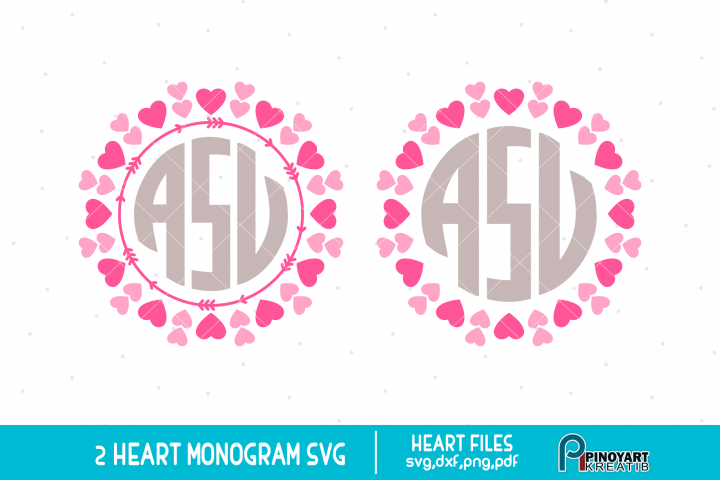 Heart Monogram Frame svg - valentine svg vector files
