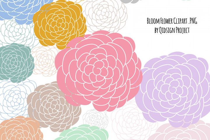 Hand drawn flower bloom, clipart dahlia, clipart peony, flower clipart