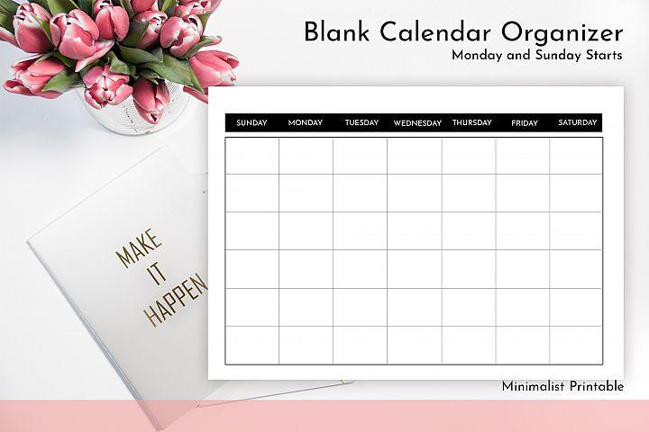 Blank Calendar - Calendar Printable | JPG - PDF