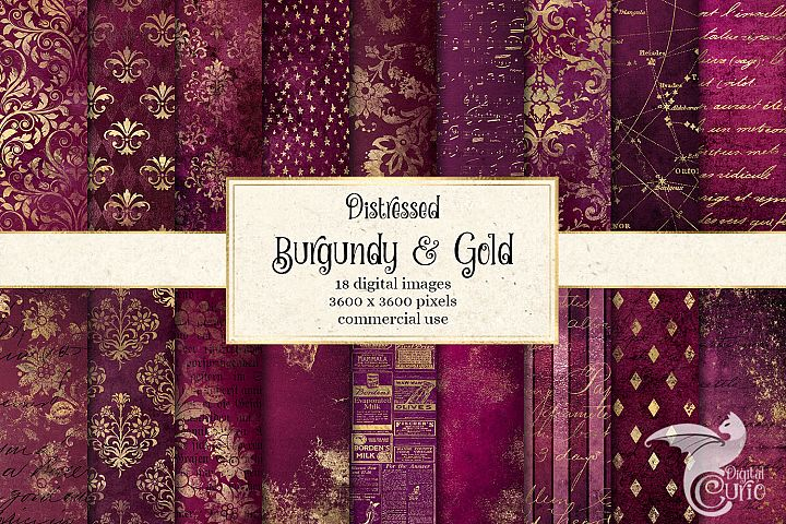 Distressed Burgundy and Gold Digital Paper