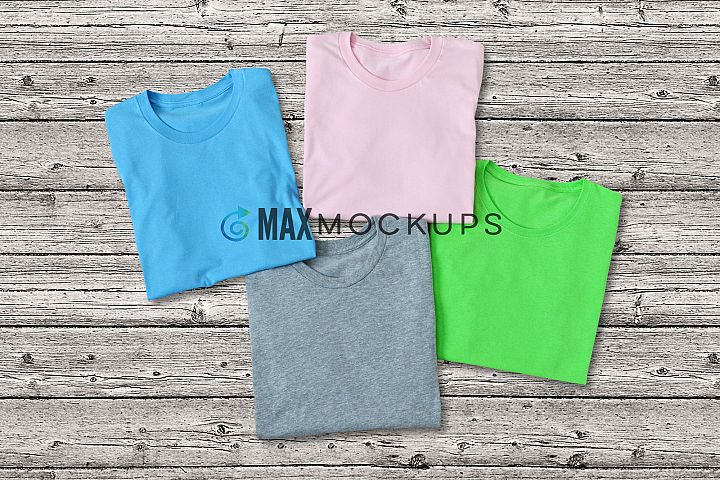 4 shirts Mockup, blank folded shirts flatlay photo