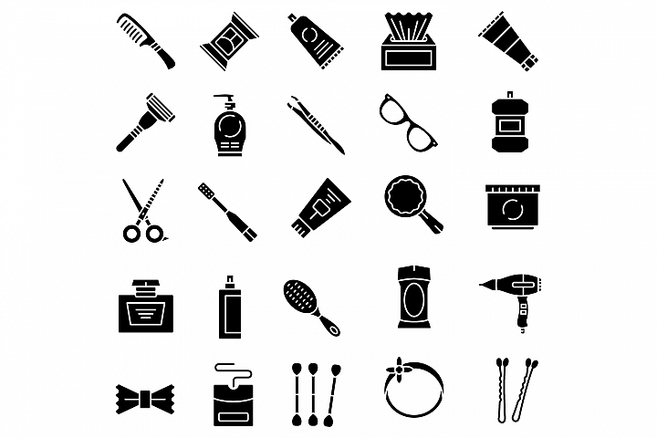 Personal care products solid icons set