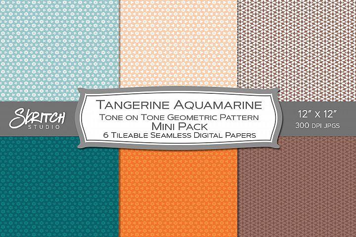 Tangerine Aquamarine Tone on Tone 6 Tileable Digital Paper