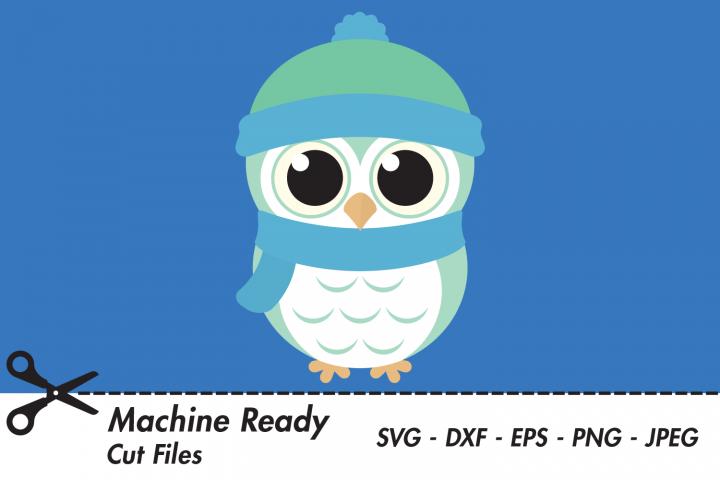Cute Winter Owl SVG Cut Files, Baby Boy Owl, Woodland Art