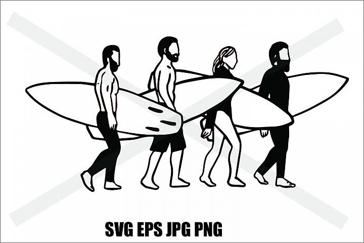 Surfing people- SVG EPS JPG