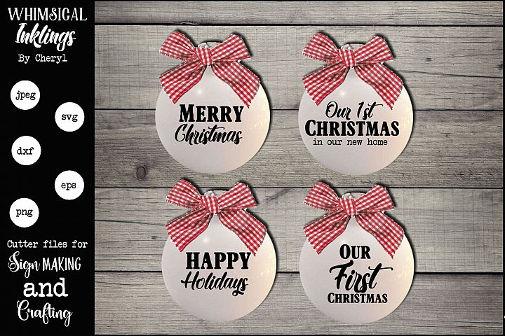 Christmas Ornament Sentiments SVG Set