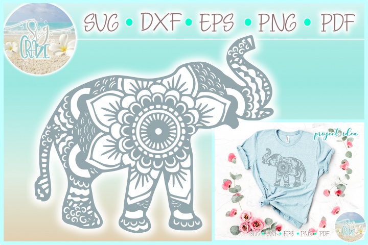 Elephant Mandala Svg Dxf Eps Png Pdf Files For Cricut