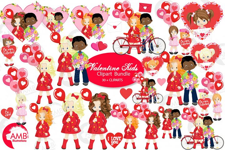 Valentine mini multi ethnic clipart bundle, AMB-2158