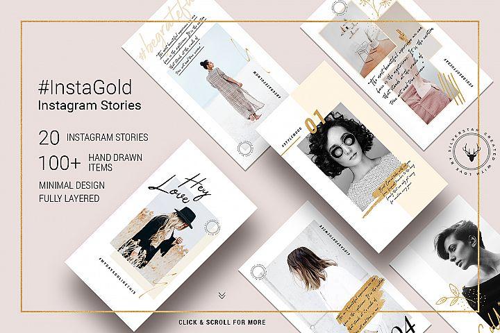 #InstaGold - Minimal, Elegant Gold Instagram Story Templates