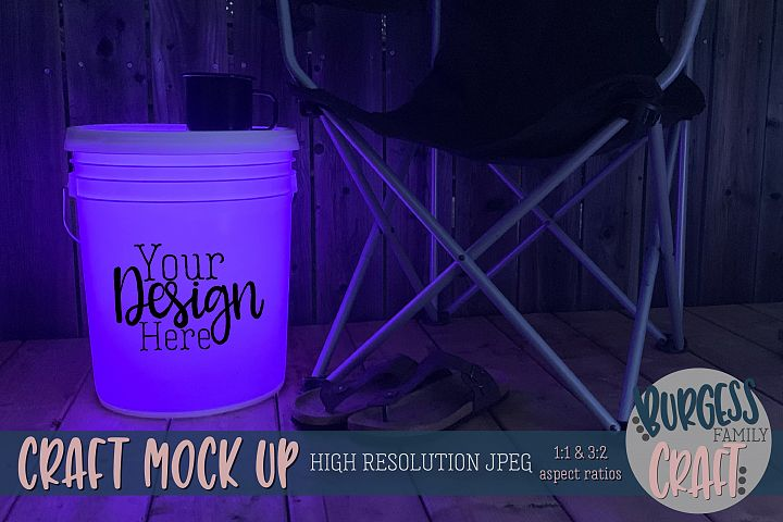 Bucket light table purple Craft mock up|High Resolution JPEG