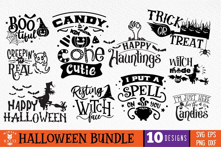 Halloween Bundle 10 designs SVG EPS DXF PNG