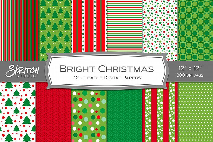 Bright Christmas 12 Tileable Digital Papers