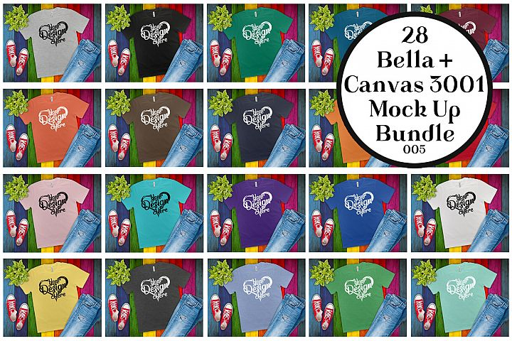 Bella Canvas 3001 Mockup Bundle Flat Lay T-Shirt Mock Ups