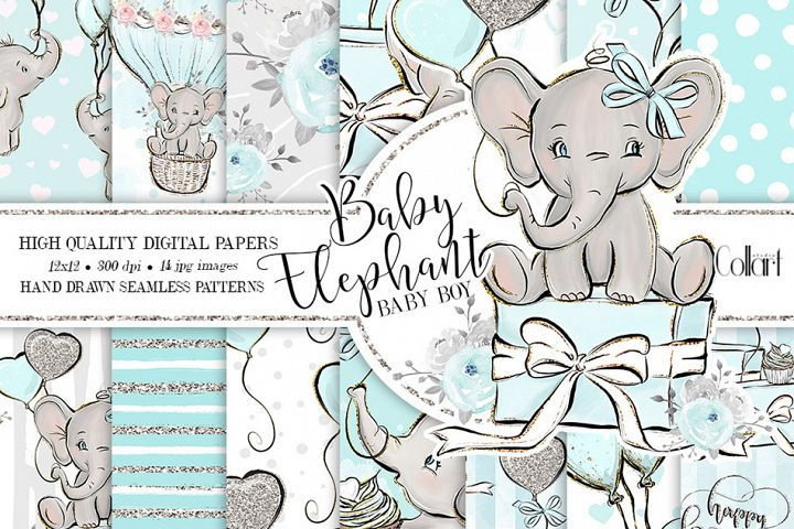 Elephant digital paper, baby boy papers, seamless patterns