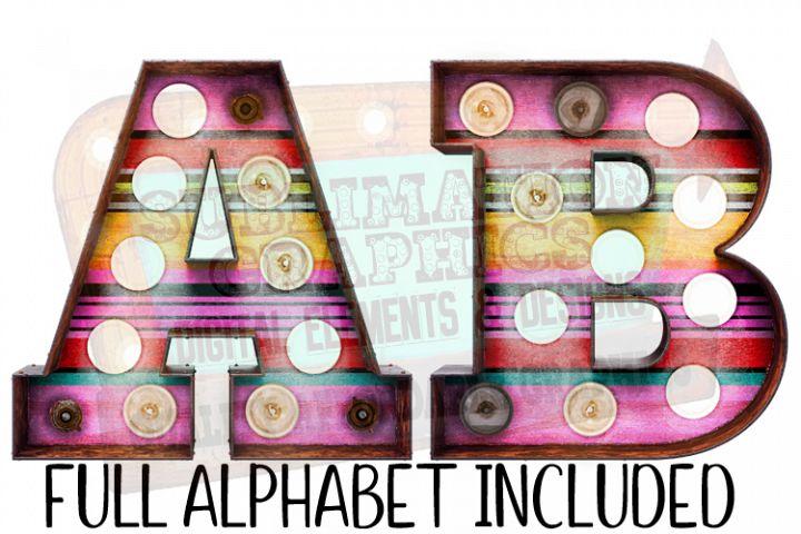 Serape Marquee Alphabet 3