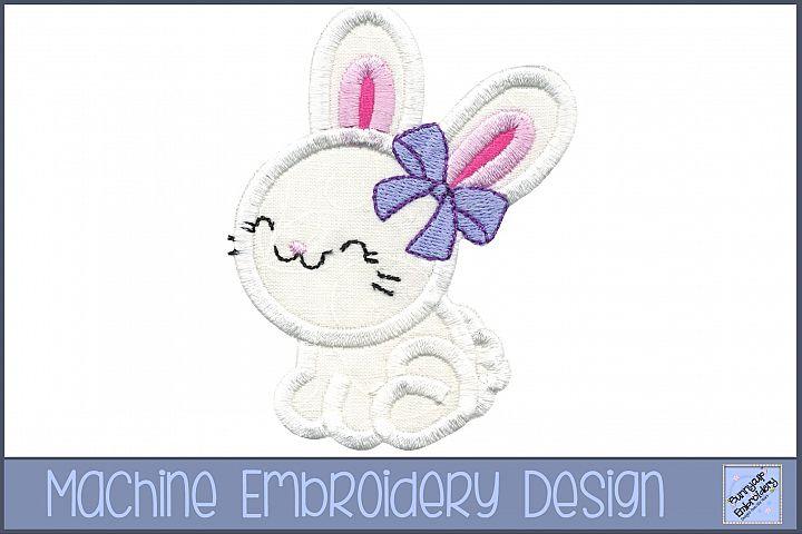 Girl Bunny Applique Embroidery Design