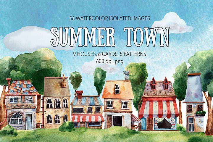 Summer Town - Watercolor Clip Art Set