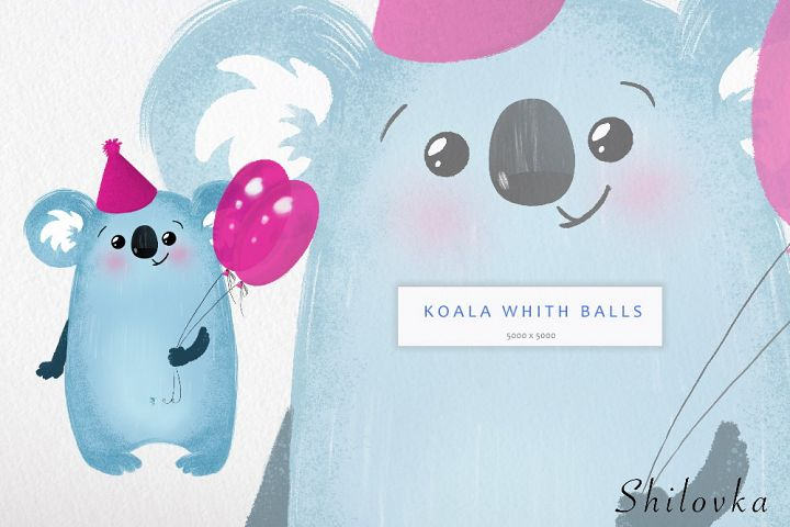 Koala with balls. Birthday