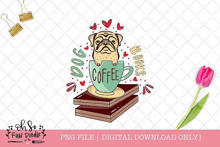 Pug sublimation, PNG file, book lover, hand drawn