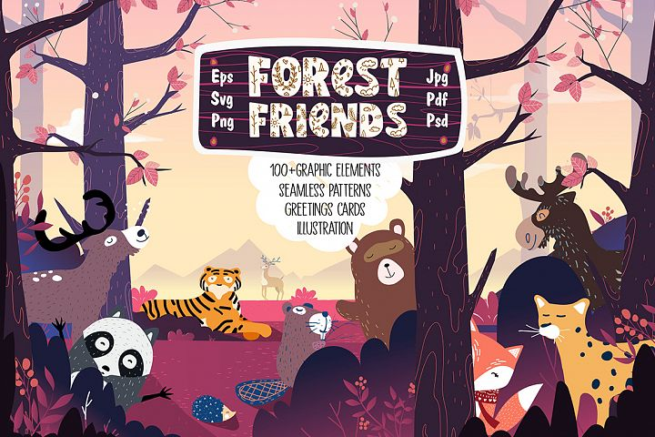 Forest Friends, patterns, cards, illustrations, elements